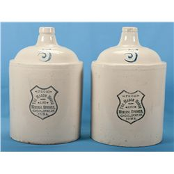 Collector's Lot of Two Mason House and Mineral Springs Colfax Iowa 5 Gallon Pottery Jugs