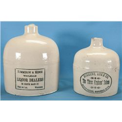 Excellent Pair of Red Wing Liquor Advertising Pottery Jugs