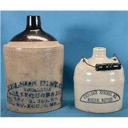 Two Advertising Stoneware Jugs