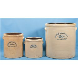 Three Macomb Stoneware Crocks