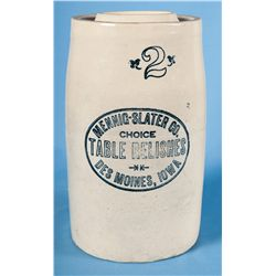 Western Two Gallon Churn with Des Moines, Iowa Advertising