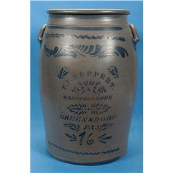 Large T.F. Reppert 16 Gallon Pottery Crock