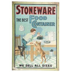 Rare American Art Works Company Stoneware Tin Advertising Sign