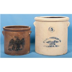 Collector's Lot of Two Stoneware Crocks with American Eagle Stencils