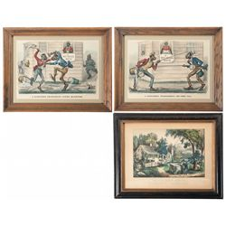 Three Currier & Ives Framed Lithograph Prints