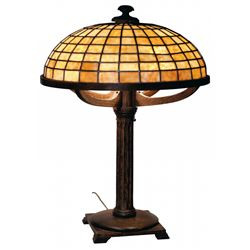 Fine Mission Lamp with Stained Glass Shade