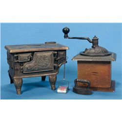 Charles Parker Coffee Mill and Salesman Sample Stove