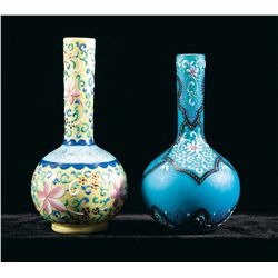 Two Elaborately Painted Glass Art Bottles