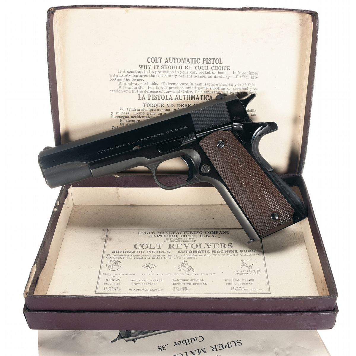 Excellent Early Post War Colt Super Model 38 Semi Automatic Pistol 1911a1 Parts Diagram With Original Box And Holster