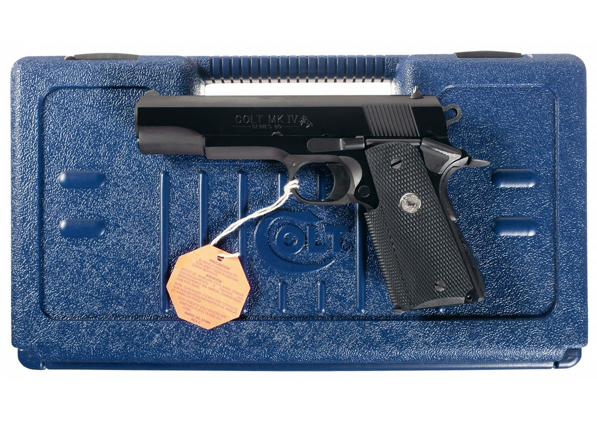 Colt MK IV Series 80 Government Model 1911 Semi-Automatic Pistol in 9x23  with Case. Loading zoom