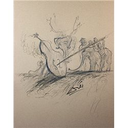 Original Pencil Sketch on Paper. Signed Dali -Killing a Cello -