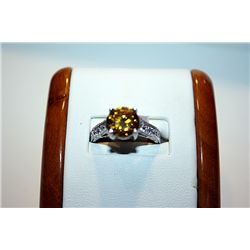Lady's Antique 14 kt Gold Citrine & Diamond Ring
