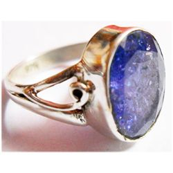 Natural 4.13g Tanzanite Oval .925 Sterling Silver Ring