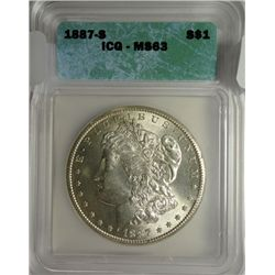 1887-S MORGAN DOLLAR ICG MS-63