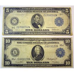 1914 FR notes $5 and $10  VG/F