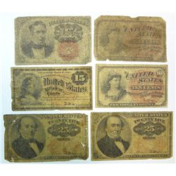 6 pieces fractional currency  avg G/VG