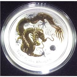 2012 Australia  gilt dragon 1 oz. silver