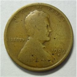 1909S Lincoln penny nice color Good +