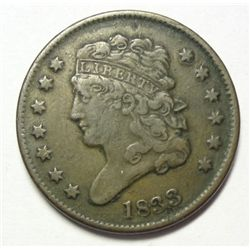 1833  half cent   borderline VF