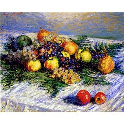 Still Life with Pears and Grapes by Monet