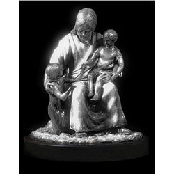 Original Fine Silver Sculpture - Jesus and the Children by D. Hunter