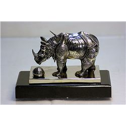 Salvador Dali Real Silver RHINOCEROS Sculpture