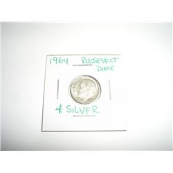 1964 Mercury Silver Dime *PLEASE LOOK AT PICTURE TO DETERMINE GRADE - COIN OUT OF SAFE DEPOSIT BOX &