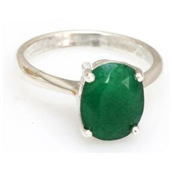 Natural 2.77 ctw Emerald Oval .925 Sterling Silver Ring