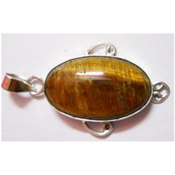 Natural 5.94g Tiger Long Oval .925 Sterling Pendant