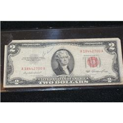 1953 United States Note $2, Red Seal, #A18442700A