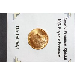 1926 Indian Chief $10 Gold Coin  **CeCe's Premium Special 10% Buyer's Premium-This Lot Only!**