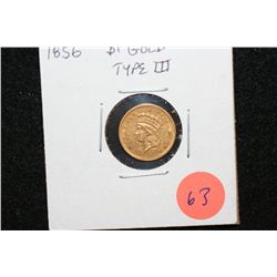 1856 Indian Princess $1 Gold Coin, Type III