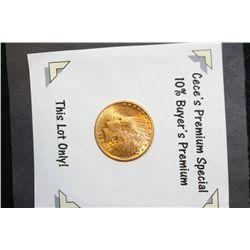 1913 Indian Chief $10 Gold Coin  **CeCe's Premium Special 10% Buyer's Premium-This Lot Only!**