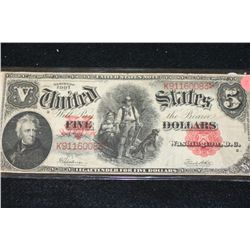 1907 United States Note $5, Red Seal, #K91160083
