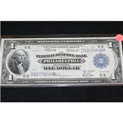 1914 US National Currency $1, Philadelphia PA Reserve, #C42074846A Large Washington Bill