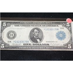 1914 US Federal Reserve Note $5, Dallas TX Reserve, #K14140678A Large Lincoln Bill