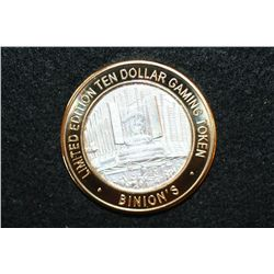 Binion's Gambling Hall & Casino Limited Edition Two-Tone $10 Gaming Token, .999 Fine