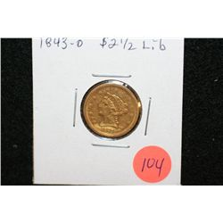 1843-O Liberty $2 1/2 Gold Coin