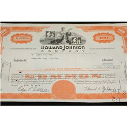 Howard Johnson Co. Stock Certificate dated 1973