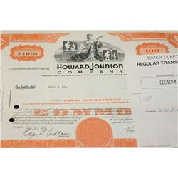 Howard Johnson Co. Stock Certificate dated 1972