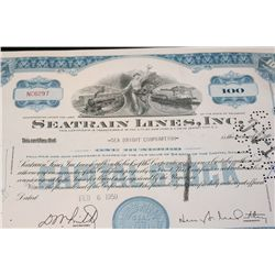 Seatrain Lines Inc. Stock Certificate dated 1959
