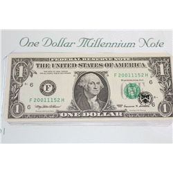 1999 US Federal Reserve Note $1, Atlanta GA Reserve, #F20011152H; Millennium Note (Features 2001 in