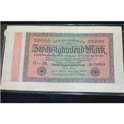 1923 German 20000 Swanzigfanlend Mark Foreign Bank Note