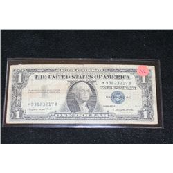 1957-A US Silver Certificate $1, Blue Seal, # *93823217A; Star Note