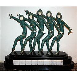Chorus Line - Bronze and Ivory Sculpture by Chiparus