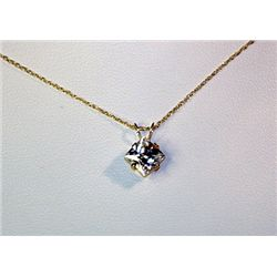 Lady's Fancy Style 14 kt Yellow Gold White Sapphire Necklace