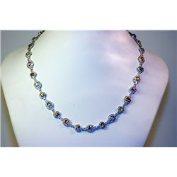 Lady's 14 kt White Gold Multi Sapphire/Diamond Necklace