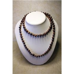 #202 - Hand Knotted Jewelry, Bronze color pearl. 9-10mm-32in all original