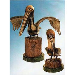 Bronze Sculpture - Pelicans by Koop