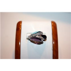 Lady's Fancy 14 kt White Gold Multi Color Diamond Ring
